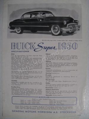 1950 Buick Super broschyr svensk