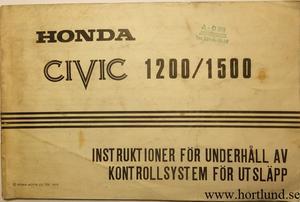 1975 Honda Civic 1200/1500 Instruktioner