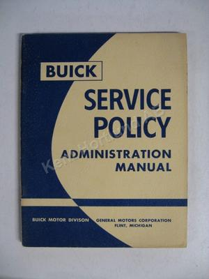 1957 Buick Service Policy Administration Manual