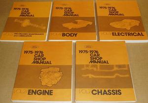 1975-1976 Ford, Cougar, Maverick, Monarch, Bobcat, Pinto, Falcon, Montego, Mustang, Thunderbird, Elite, Torino, Ranchero, Comet, Granada, Meteor, Mercury, Lincoln Continental och Mark V Shop Manual