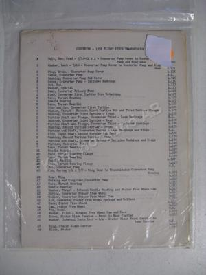 1958 Buick Flight Pitch Parts list and illustrations