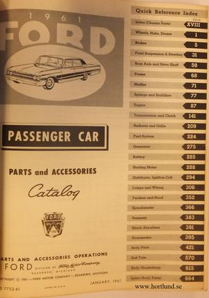 1961 Ford Passenger Car Parts Catalog