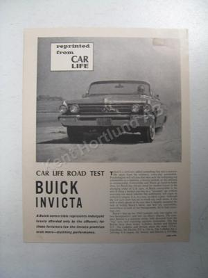 1962 Buick Invicta magazine article reprinted from car life