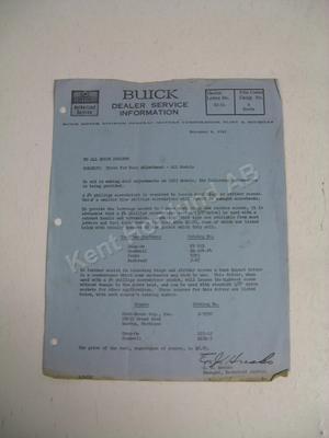 1963 Buick Dealer service information letter 62-51