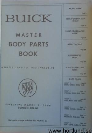 1940-65 Buick Master body parts book