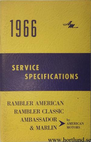 1966 AMC och Rambler Service Specifications