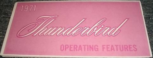 1971 Ford Thunderbird Owner's Manual