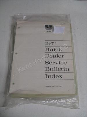 1971 Buick dealer service bulletin index