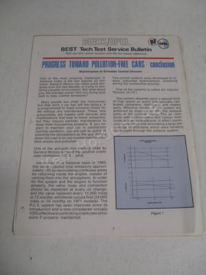 1971 Buick / Opel best tech test service bulletin