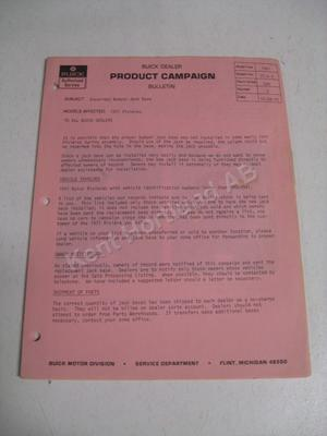 1971 Buick Riviera Product campaign bulletin