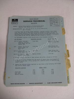 1973 Buick Service technical bulletin