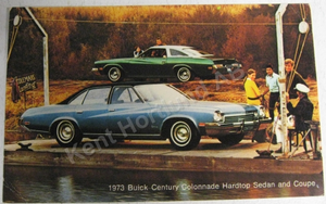 1973 Buick Century Colonnade Hardtop Sedan and Coupe Vykort