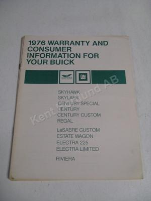 1976 Buick warranty and consumer information