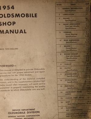 1954 Oldsmobile Shop Manual original
