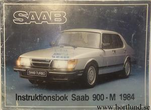 1984 SAAB 900 Instruktionsbok