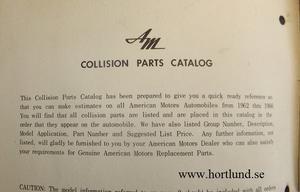 1962 - 1966 Rambler Collision Parts Catalog
