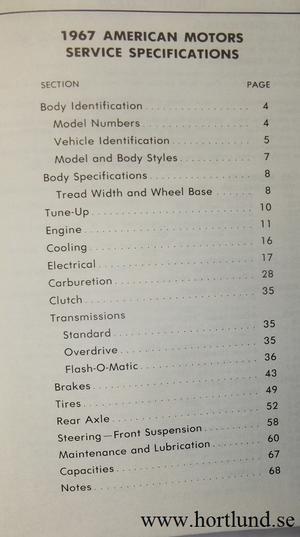 1967 AMC och Rambler Service Specifications