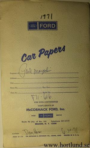1971 Ford fodral till instruktionsbok