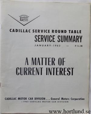 1963 Cadillac Service summary January 1963