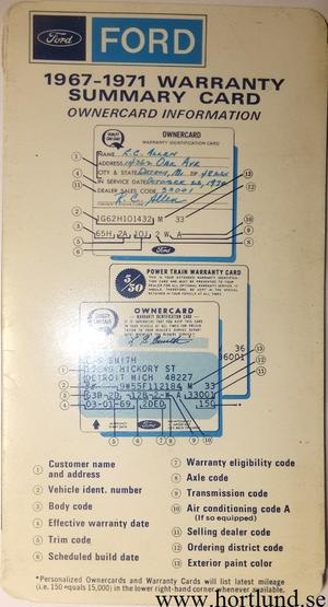 1967-1971 Ford Warranty Summary Card Information