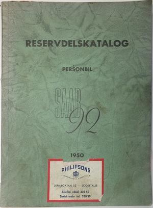 1950 SAAB 92 Reservdelskatalog