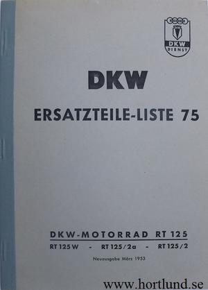 1953 DKW RT 125 W, 125/2a, 125/2 Reservdelskatalog