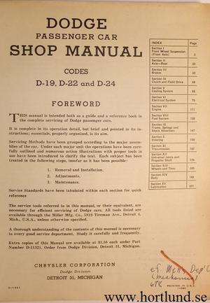 1941 - 1949 Dodge Shop Manual