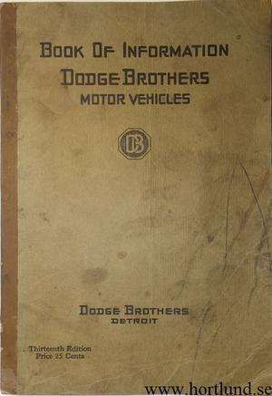 1920 Dodge Book of Information