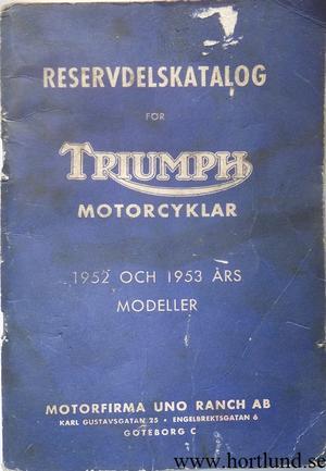 1952 och 1953 Triumph Reservdelskatalog