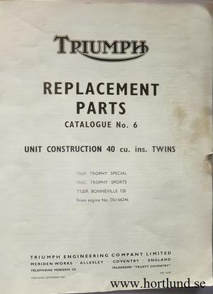 1967 Triumph Replacement Parts Catalogue No. 6