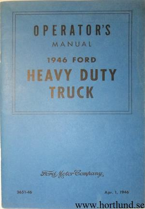1946 Ford Heavy Duty Truck Operator's Manual