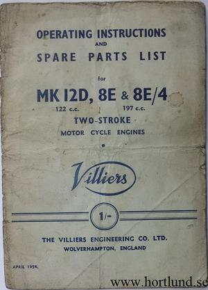 1954 Villiers Operating Instructions and Spare Parts List