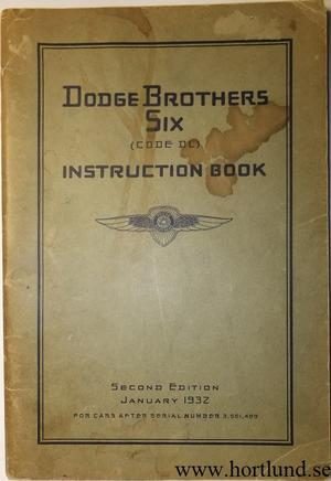 1932 Dodge Six Instruction Book