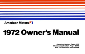 1972 AMC Technical Owner's Manual