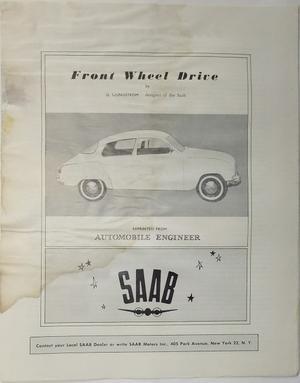 1960 SAAB 96 o 95 broschyr Front Wheel Drive