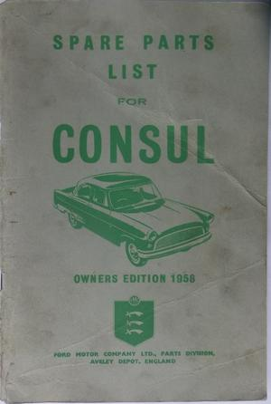 1958 Ford Consul Spare Parts List