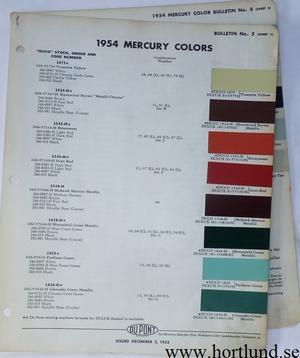 1954 Mercury Du Pont lackkarta