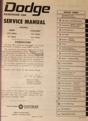 1965 Dodge Dart & Coronet Technical Service Manual