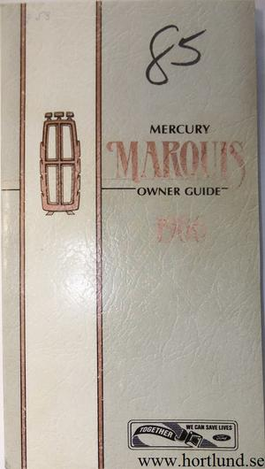 1986 Mercury Marquis Owner Guide