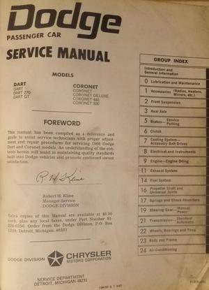 1966 Dodge Dart & Coronet Service Manual original
