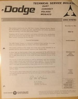 1966 Dodge Dart & Coronet & Charger Service Manual