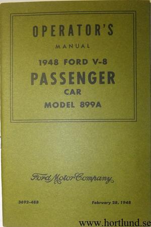 1948 Ford V8 Operator's Manual