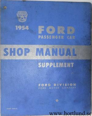 1954 Ford car Shop Manual supplement