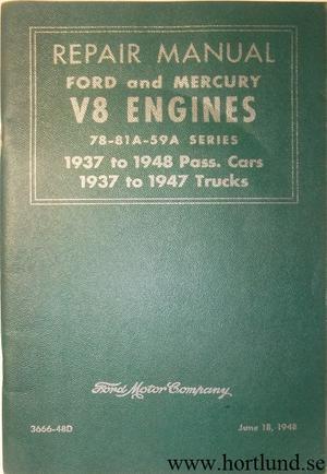 1937 - 1948 Ford & Mercury V8 Engines Repair Manual