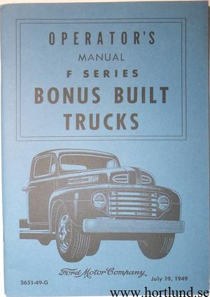 1949 Ford Truck F-1 - F-8 Operators Manual