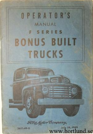 1949 Ford Truck F-1 - F-8 Operators Manual original