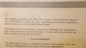 1966 Dodge Charger Service Manual supplement