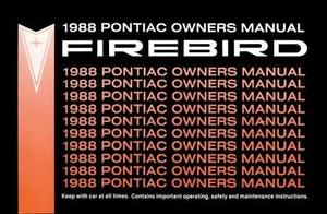 1988 Pontiac Firebird Owners Manual