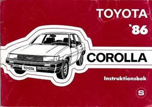 1986 Toyota Corolla Instruktionsbok