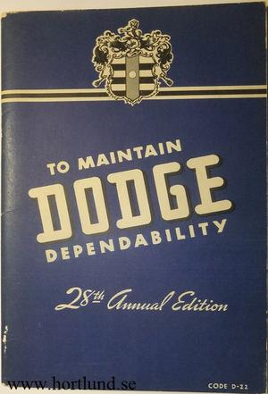 1942 Dodge D22 Instruction Book